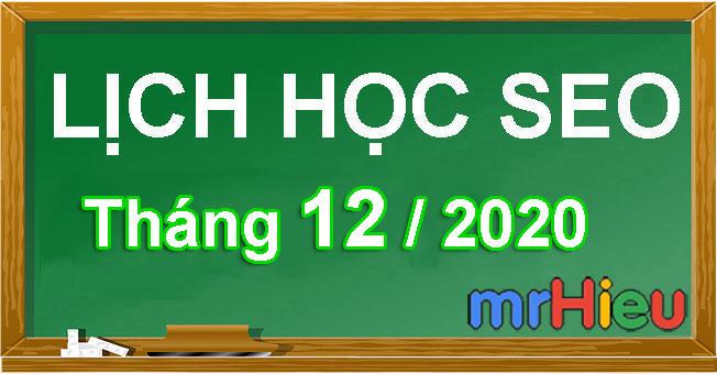 Lịch học seo tháng 12/2020